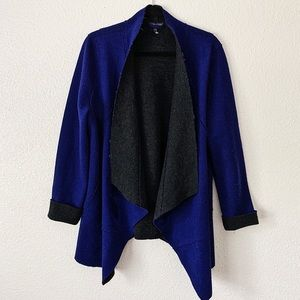 Eileen Fisher Wool Blue and Black Draped Cardigan